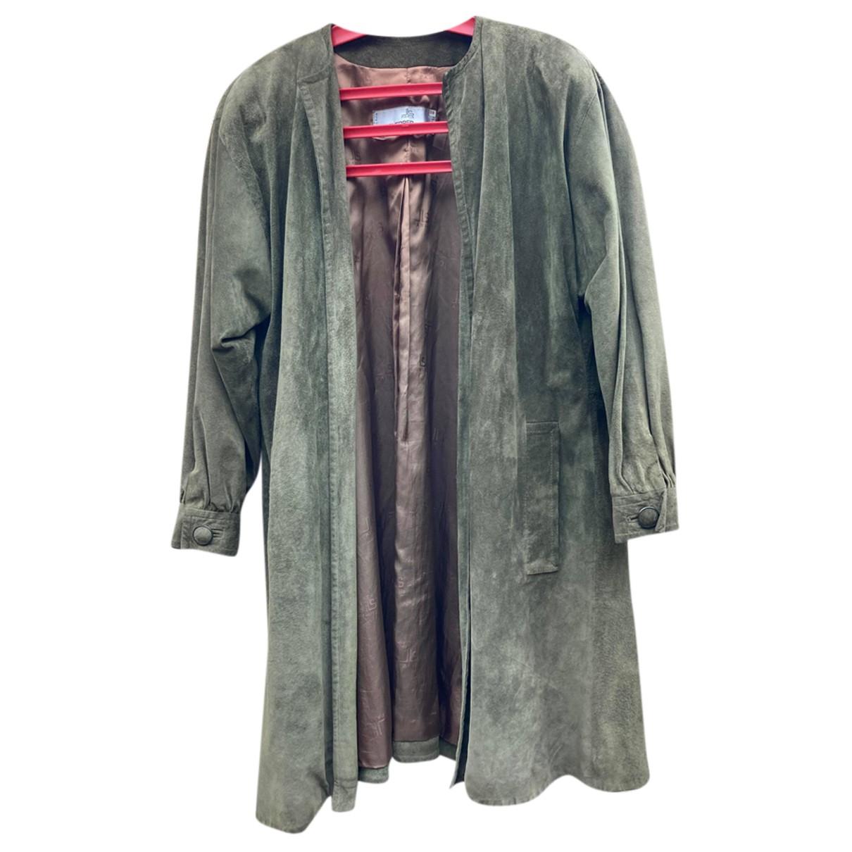 - Manteau   pour femme en suede - kaki