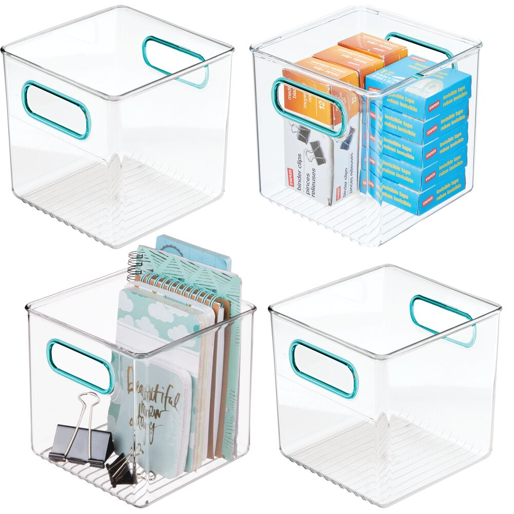mDesign Plastic Home Office Desk Organizer Cube Bin - 6