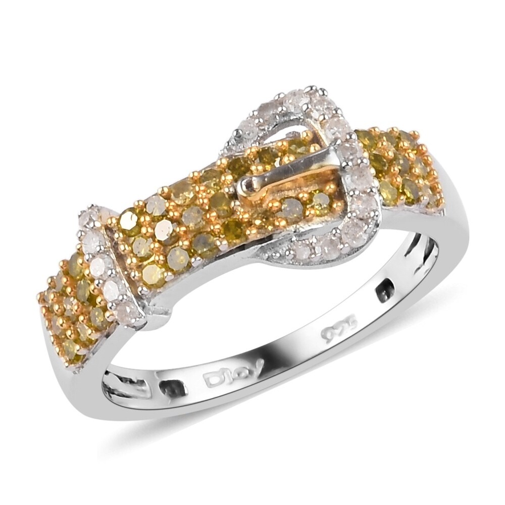 925 Silver Sterling Silver Yellow White Diamond Ring Size 7 Ct 0.495 (Yellow)