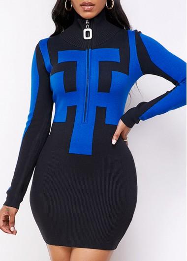 Black Dresses Long Sleeve Geometric Pattern Quarter Zip Sweater Dress - S