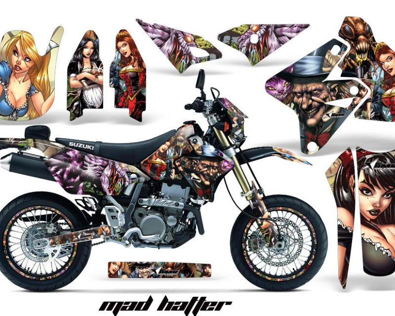 AMR Racing Graphics MX-NP-SUZ-DRZ400SM-00-18-HAT FC Kit Decal Sticker Wrap + # Plates For Suzuki DRZ400SM 2000-2018 HATTER FULL COLOR
