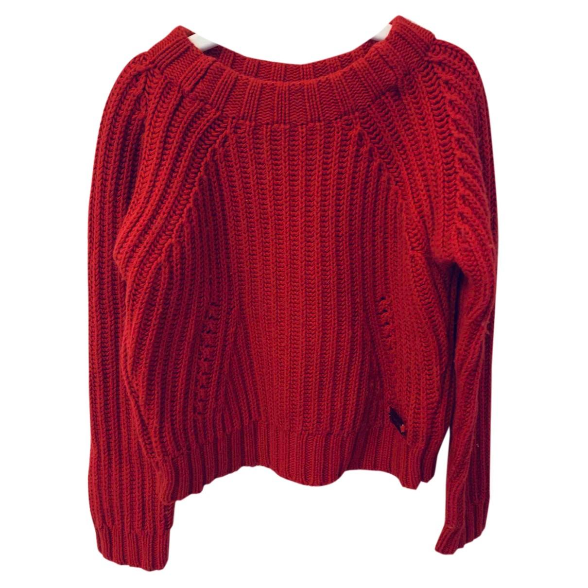 Burberry - Pull   pour enfant en laine - rouge