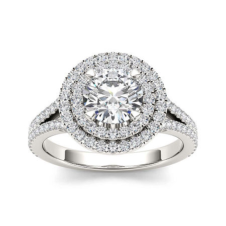 1 1/2 CT. T.W. Diamond 14K White Gold Engagement Ring, 7 , No Color Family