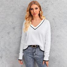Drop Shoulder V Neck Sweater