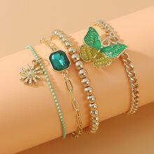 4 Stuecke Armband mit Schmetterling Dekor