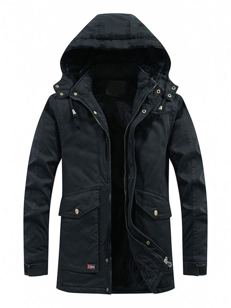 Ericdress Pocket Mid-Length Style Plain Color Zipper Casual Mens Down Jacket