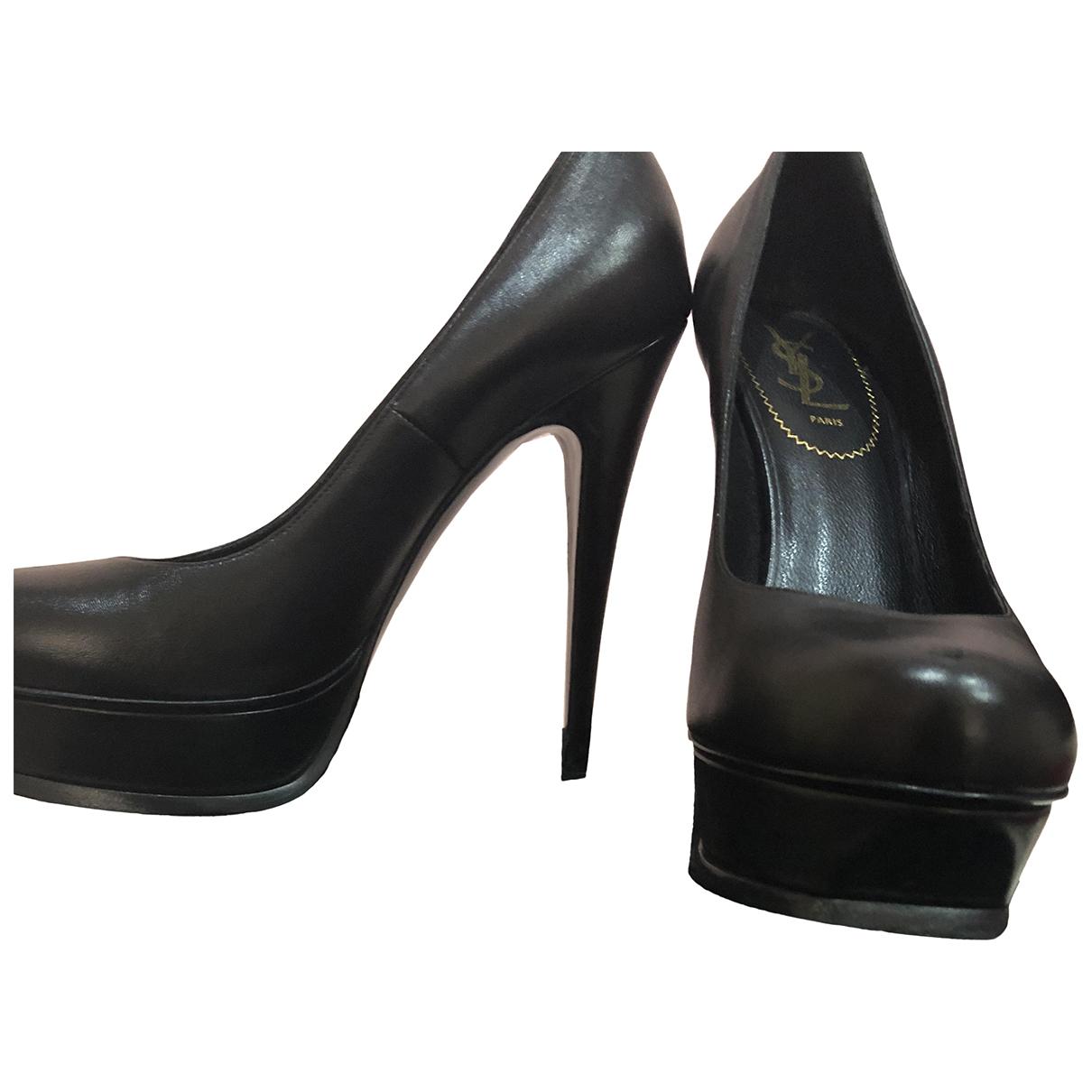 Saint Laurent N Black Leather Heels for Women 40 EU