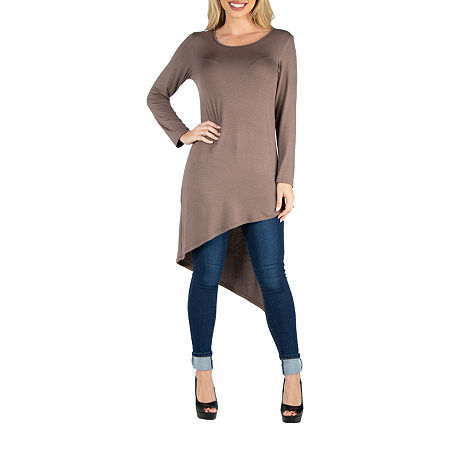 24/7 Comfort Apparel Long Sleeve Top, Medium , Brown