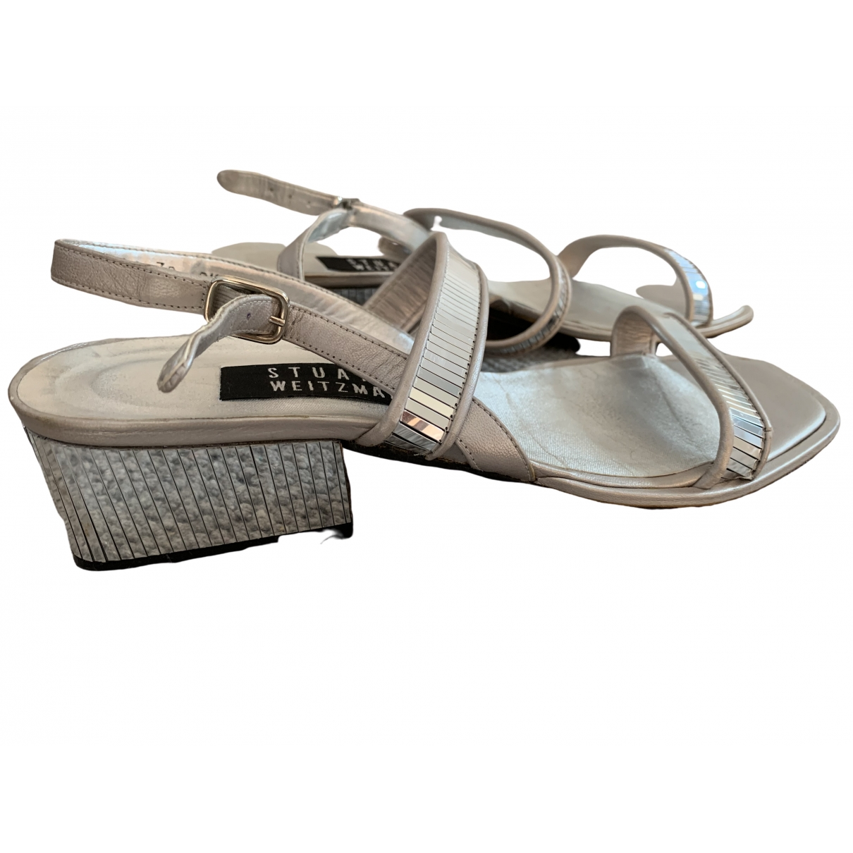 Stuart Weitzman \N Silver Leather Sandals for Women 38.5 EU