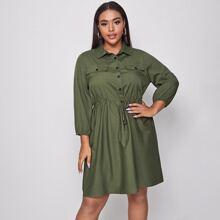 Shirt Kleid mit Kordelzug auf Taille und Taschen Dekor