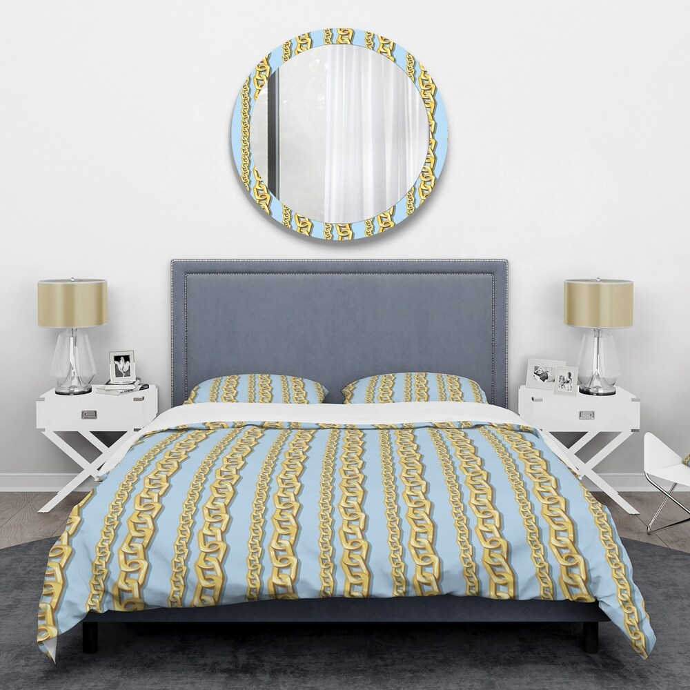 Designart 'Gold Chain Pattern' Mid-Century Duvet Cover Set (King Cover + 2 king Shams (comforter not included))