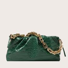 Bolsa con fruncido con diseño de cocodrilo con asa de cadena
