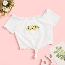 Camiseta de niñas tejida de canale ribete en forma de lechuga con bordado floral