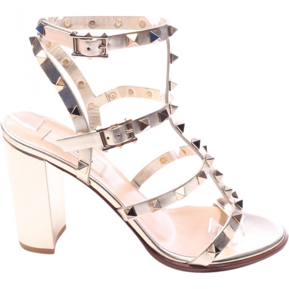 Valentino Garavani Rockstud Metallic Leather Sandals for Women 38 EU
