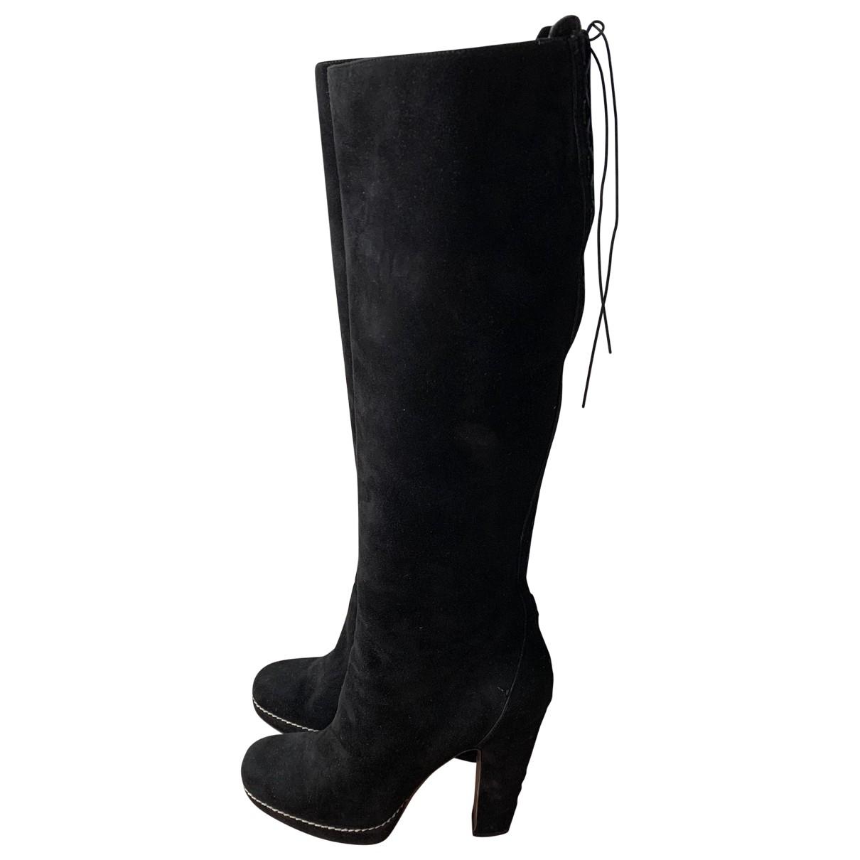 Alaia - Bottes   pour femme en suede - noir