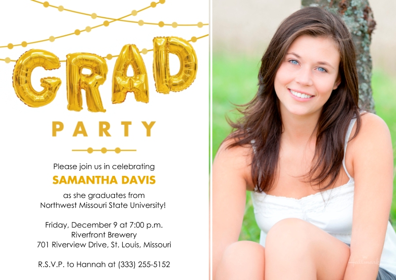 Graduation Invitations 5x7 Cards, Standard Cardstock 85lb, Card & Stationery -Grad Party Balloons