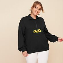 Plus Sunflower Embroidered Drop Shoulder Zip Half Placket Sweatshirt