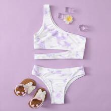 Bikini Badeanzug mit Batik und einer Schulter