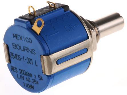 Bourns 1 Gang 10 Turn Rotary Wirewound Potentiometer with an 6.35 mm Dia. Shaft - 200Ω, ±5%, 2W Power Rating, Linear,