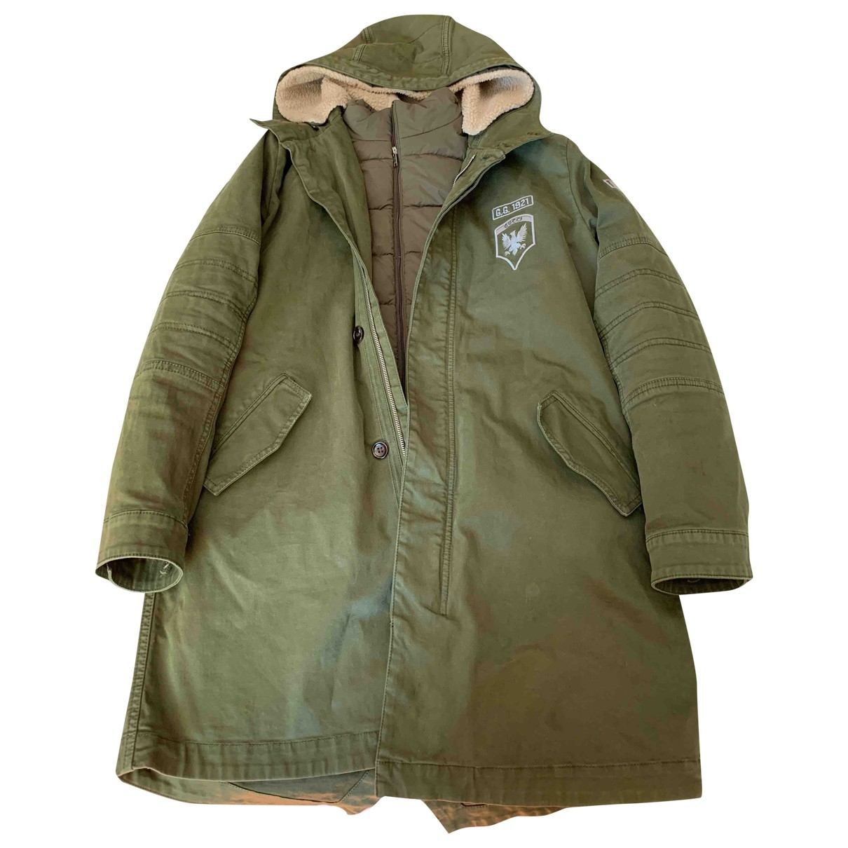 Abrigo, Chaqueta en Algodon Verde Gucci