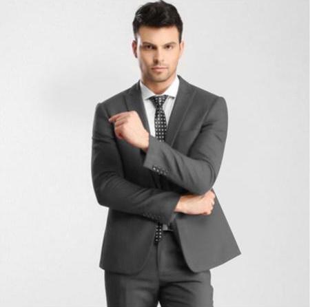 Mens Grey 1 Button Single Peak Slim Fit Suit with Flat Front Pant