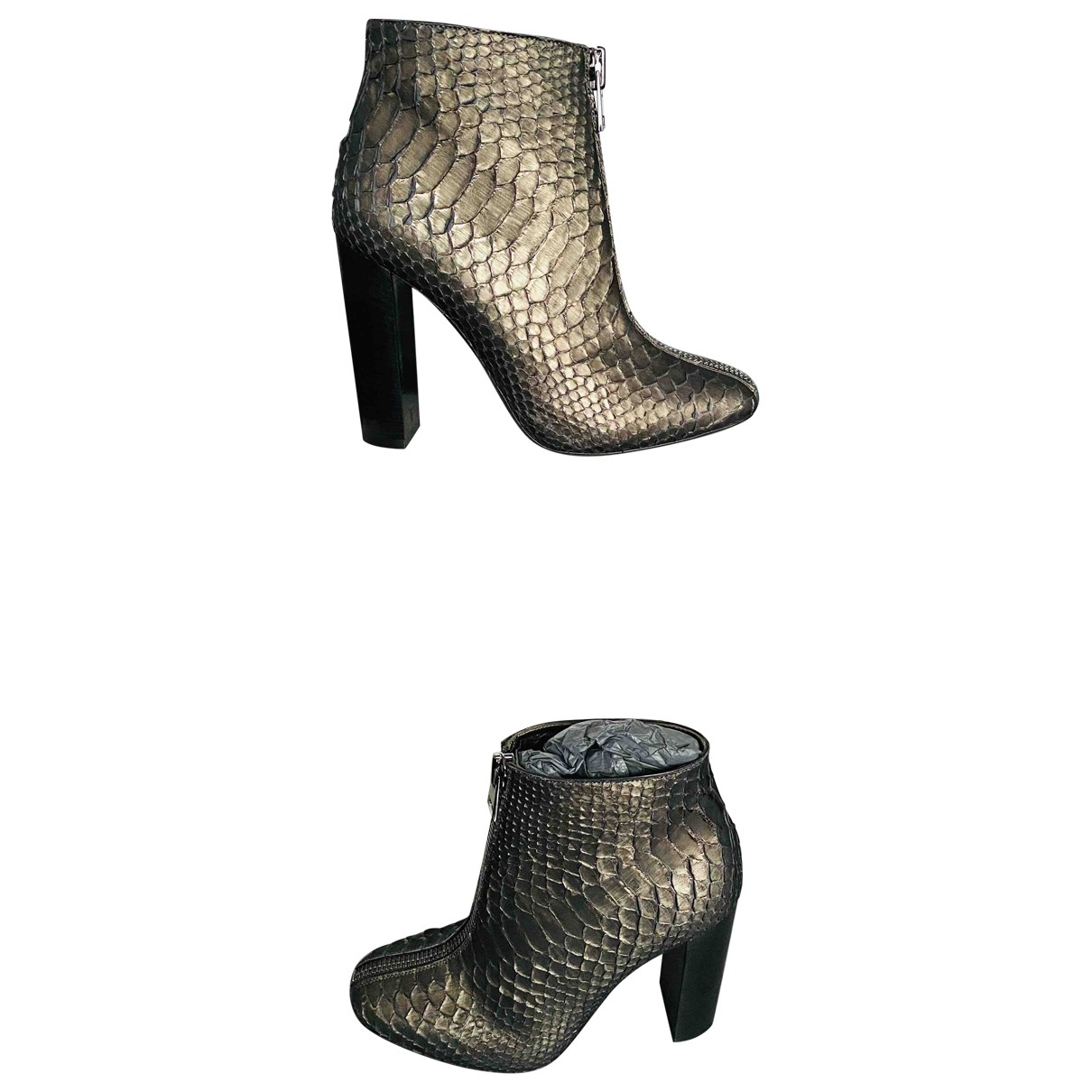 Tom Ford \N Brown Python Ankle boots for Women 37.5 EU