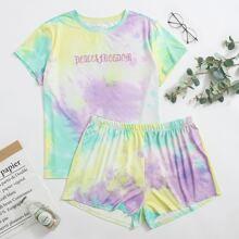 Plus Letter Embroidery Tie Dye PJ Set