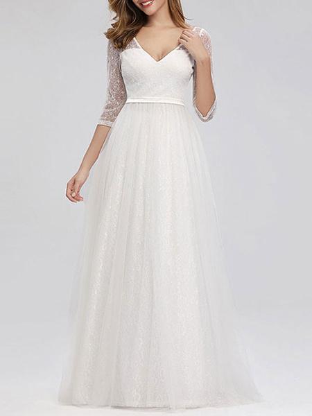 Milanoo Prom Dress 2020 Lace A Line V Neck Floor Length Social Party Dress Wedding Guest Dresses