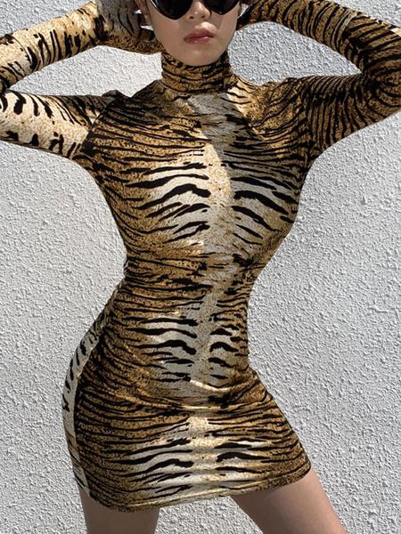 Milanoo Vestidos ajustados Estampado animal Estampado de tigre Cuello alto Vestido de lapiz de manga larga sexy