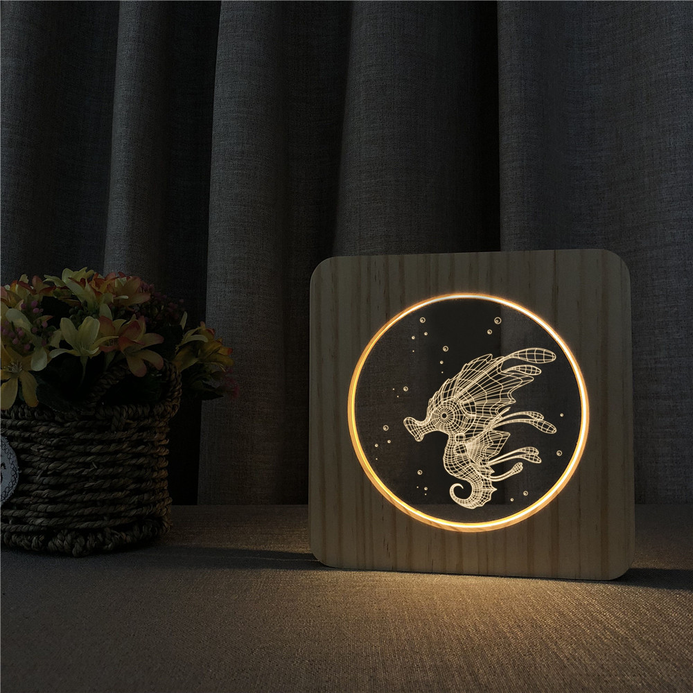 3D Animal Pattern Wooden Night Lamp for Baby Room
