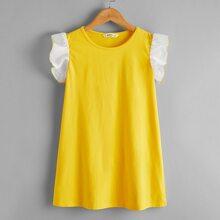 Girls Contrast Ruffle Armhole Tunic Dress