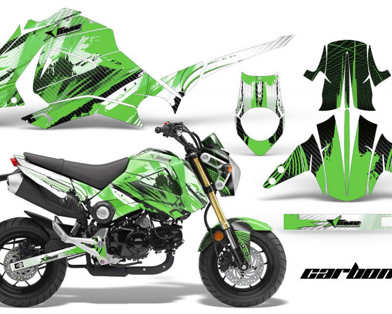 AMR Racing Motorcycle Graphics Kit Decal Sticker Wrap For Honda GROM 125 2013-2016áCARBONX GREEN
