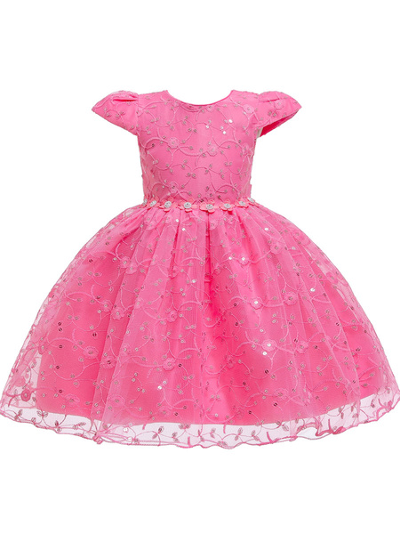 Milanoo Flower Girl Dresses Jewel Neck Polyester Cotton Short Sleeves Knee Length Princess Silhouette Flowers Kids Social Party Dresses