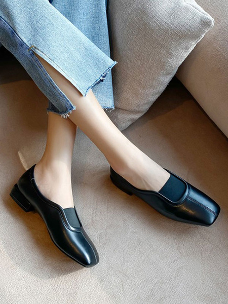 Milanoo Women White Loafers PU Leather Loafers Square Toe Slip On Casual Shoes