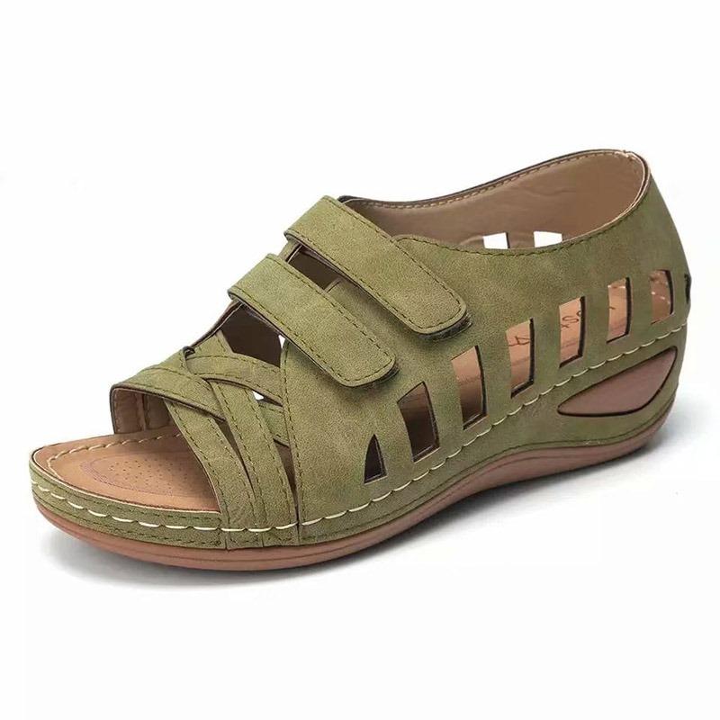 Ericdress Open Toe Velcro Wedge Heel Low-Cut Upper Sandals