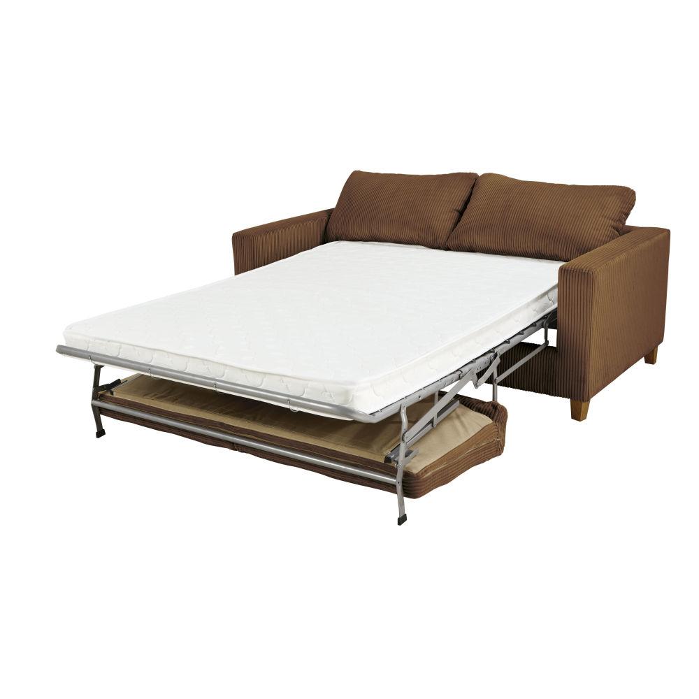 3-Sitzer-Schlafsofa mit braunem Cordsamtbezug Holden