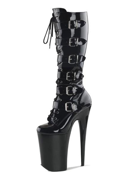 Milanoo Sexy High Heel Boots Round Toe Zipper Stiletto Heel Rave Club Black Over The Knee Boots