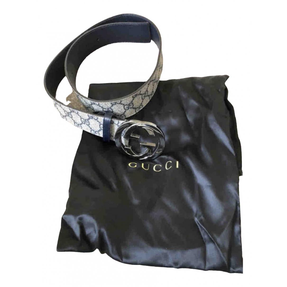 Gucci Interlocking Buckle Beige Cloth belt for Men 85 cm