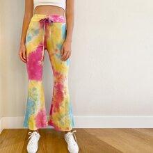 Drawstring Waist Flare Leg Tie Dye Pants