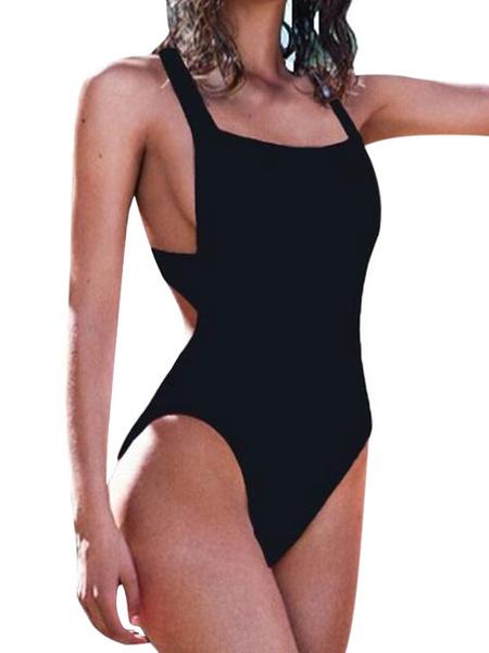 Milanoo Women's Bathing Suits Sleeveless Cross Back One Piece Swimsuit