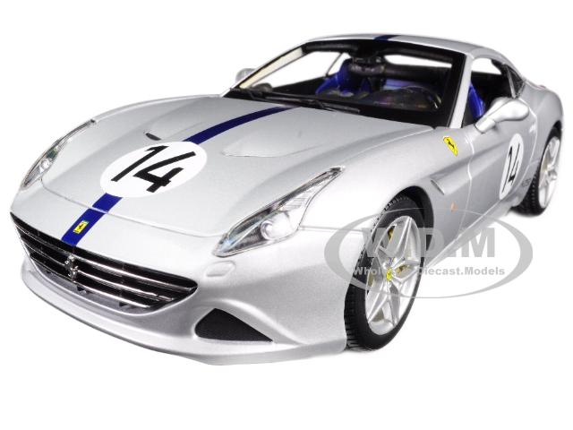 Ferrari California T Hot Rod Silver 14 70th Anniversary 1/18 Diecast Model Car by Bburago