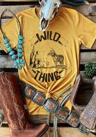 Wild Thing Wolf Cactus T-Shirt Tee - Yellow