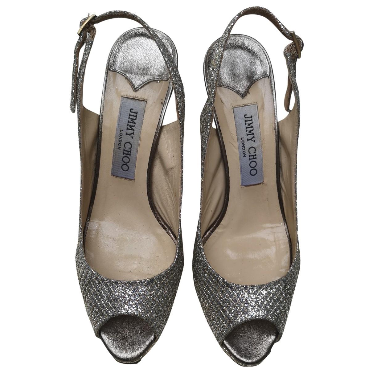Jimmy Choo \N Ecru Glitter Heels for Women 38 EU