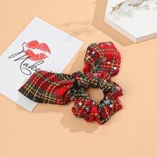 Christmas Tartan Bow Decor Hair Tie