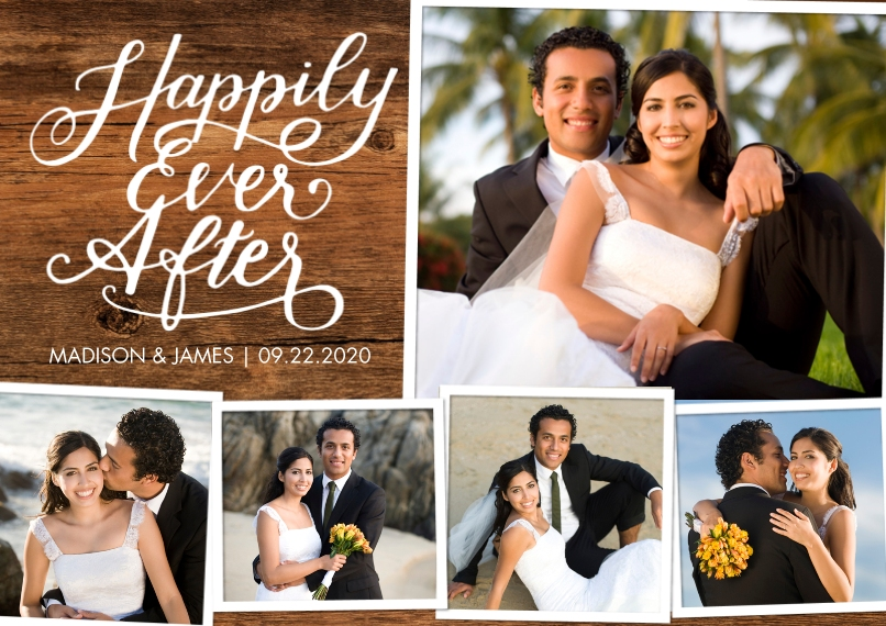 Just Married 5x7 Cards, Premium Cardstock 120lb, Card & Stationery -Just Married Happily Ever