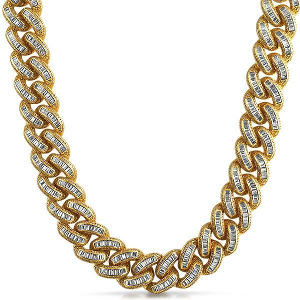 .925 Silver Gold Baguette CZ Bling Bling Chain