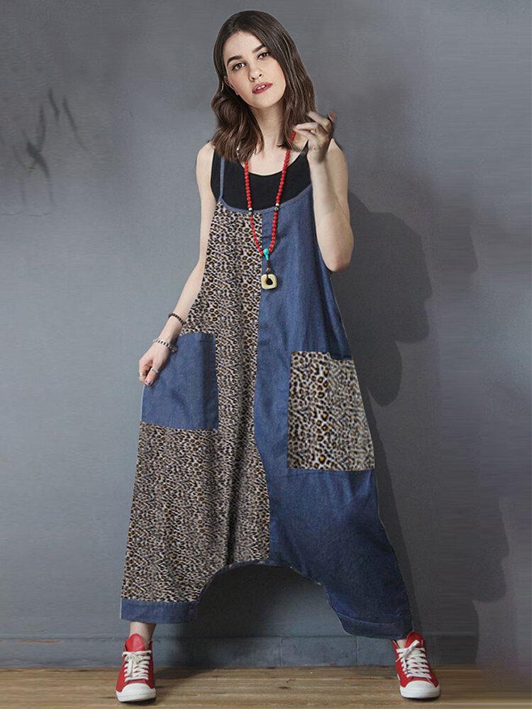 Casual Leopard Print Patchwork Sleeveless Plus Size Jumpsuit