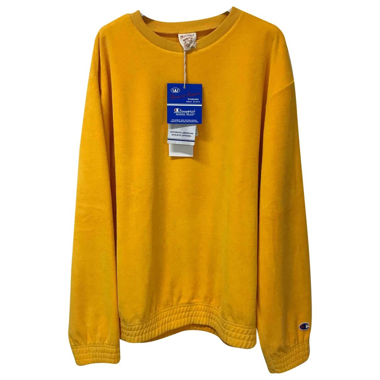 Champion - Pull   pour femme en coton - jaune