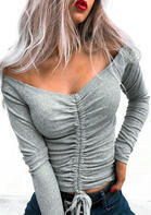 Drawstring Tie Long Sleeve Blouse - Gray