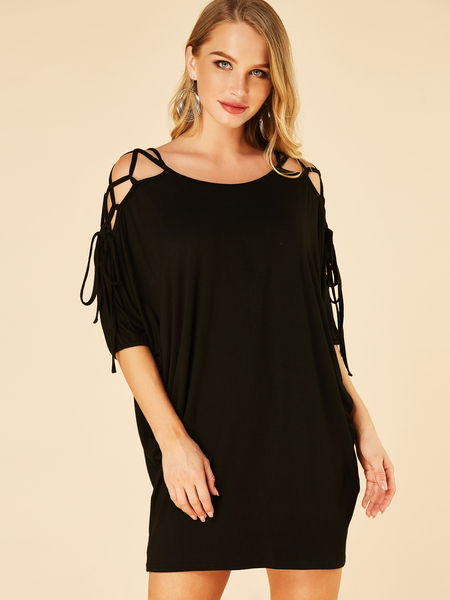 YOINS Black Lace-up Design Round Neck Half Sleeves Dress
